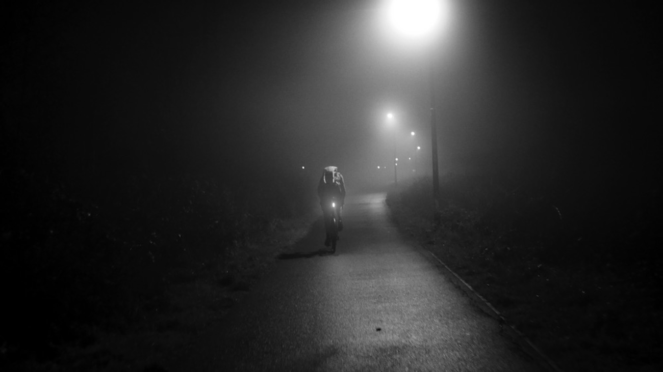 Cyclist in the early morning mist72